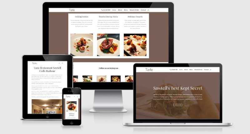 small business website design taste restaurant
